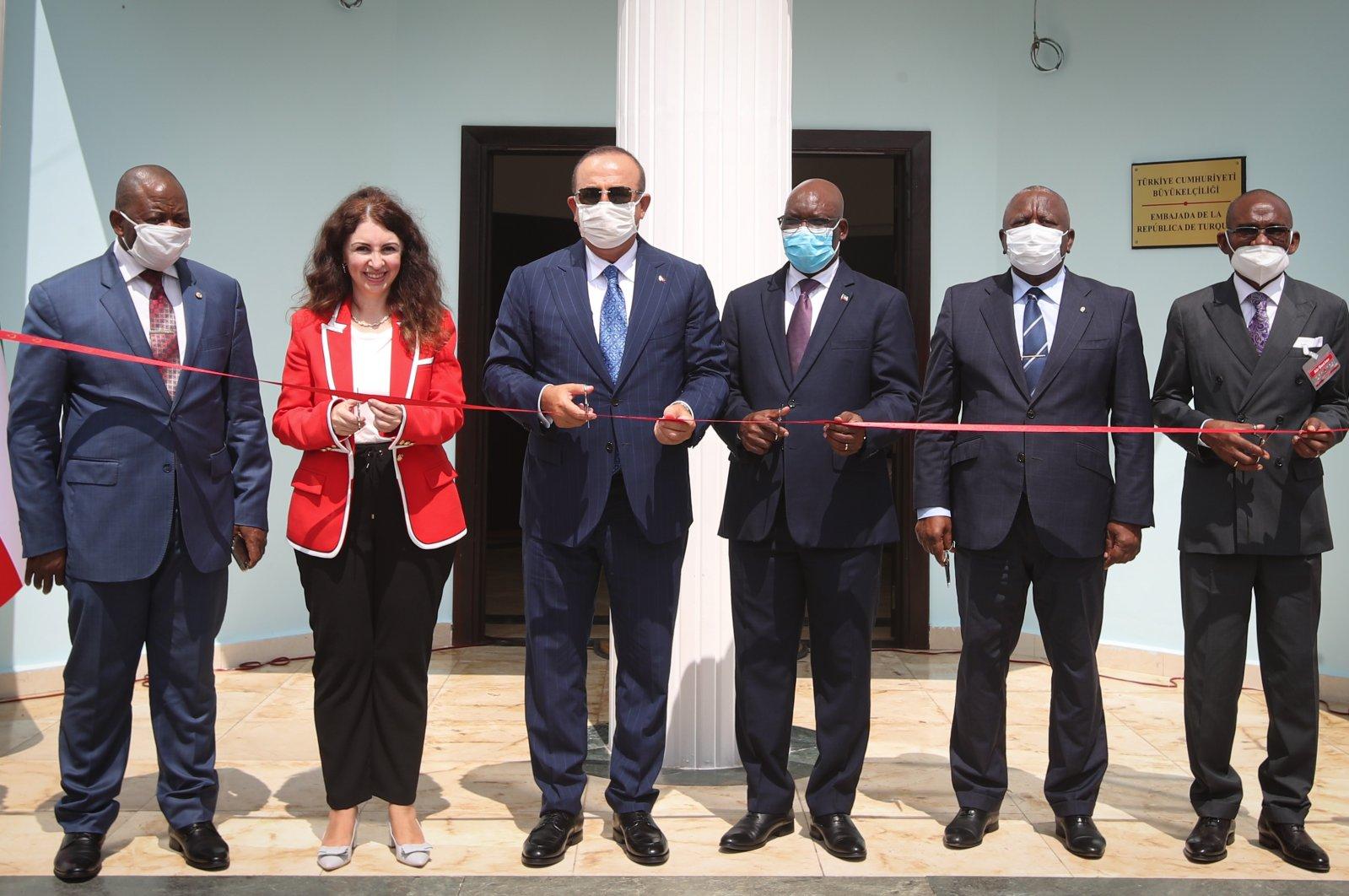 Foreign Minister Mevlüt Çavuşoğlu officially opens Ankara's first embassy in Equatorial Guinea's capital Malabo, July 22, 2020. (AA Photo)