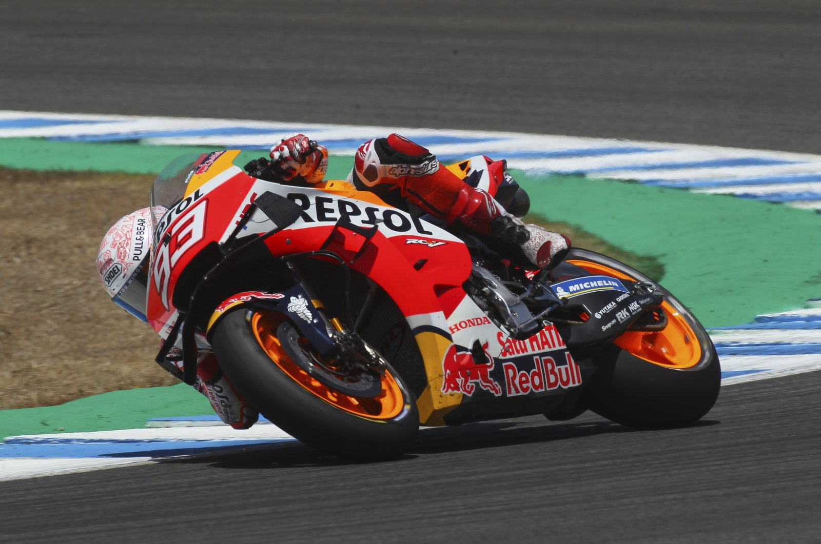 Marc Marquez steers his motorcycle during the Spanish Motorcycle Grand Prix in Jerez de la Frontera, July 19, 2020. (AP Photo)