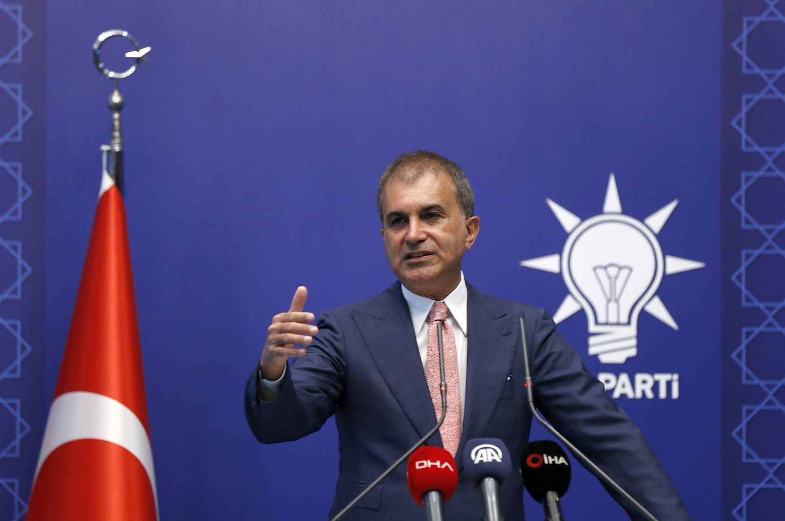 Justice and Development Party (AK Party) spokesman Ömer Çelik speaks during a news conference on July 13, 2020. (AA Photo)