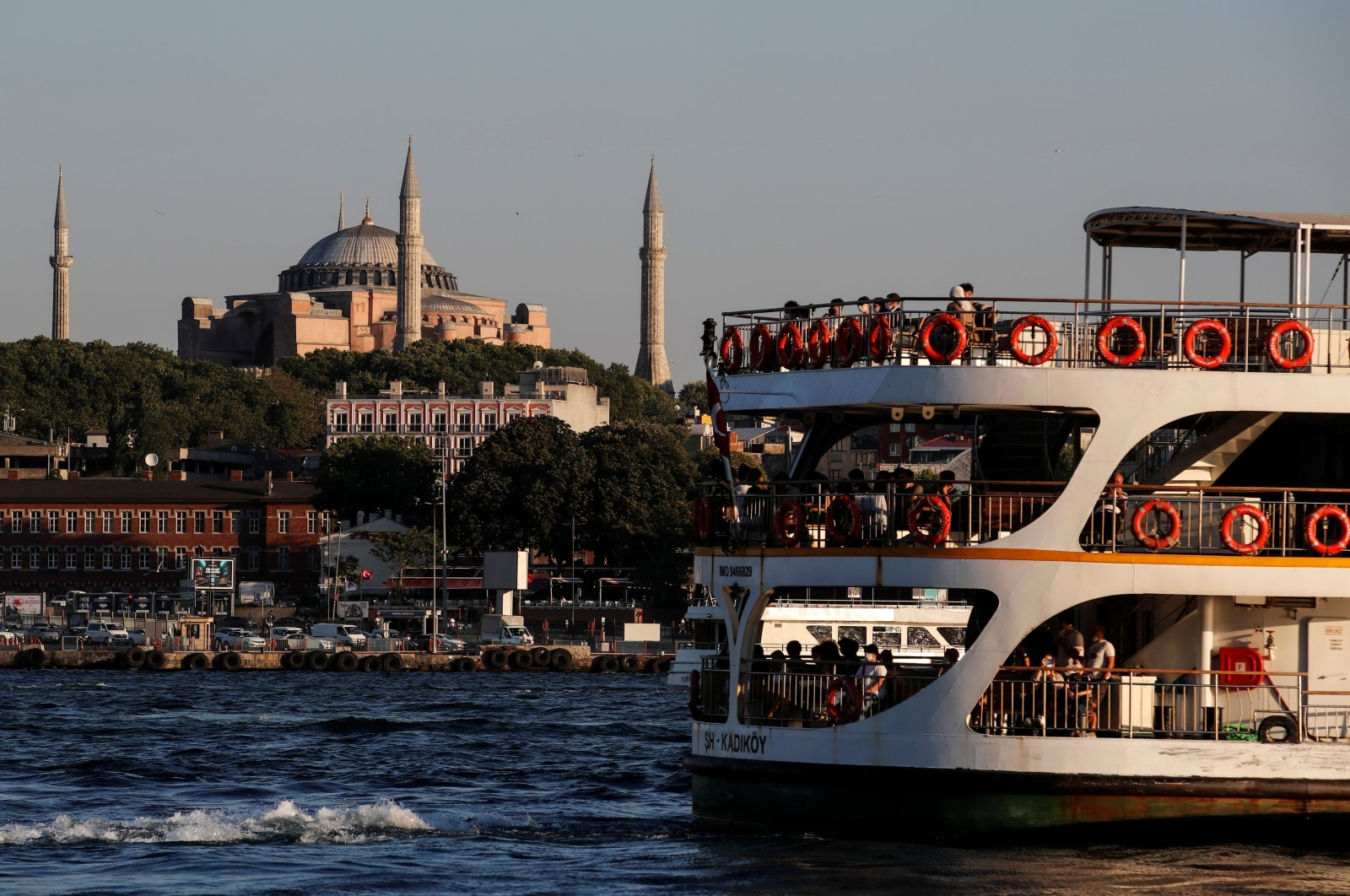 A ferry sails through the waters of the Marmara Sea as Hagia Sophia stands in the background in Istanbul, July 22, 2020. (Reuters Photo)