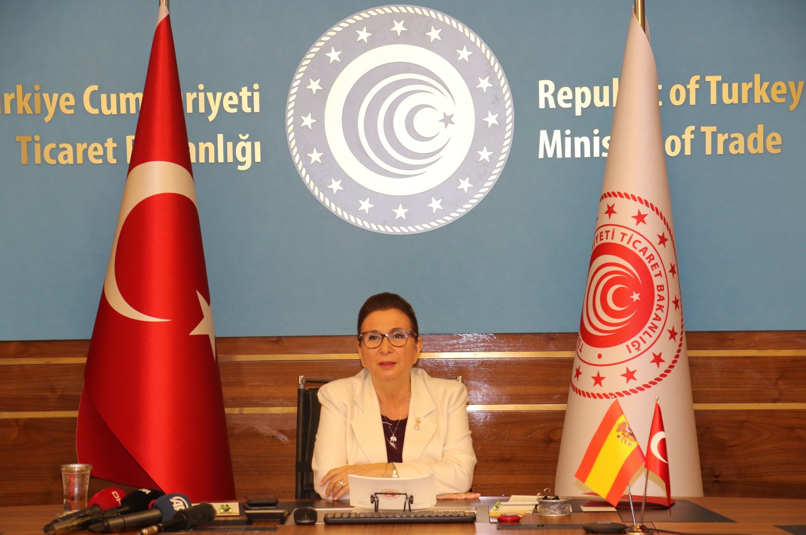 Trade Minister Ruhsar Pekcan speaks at a virtual meeting of the Joint Economic and Trade Committee in Ankara, July 23, 2020. (IHA Photo)