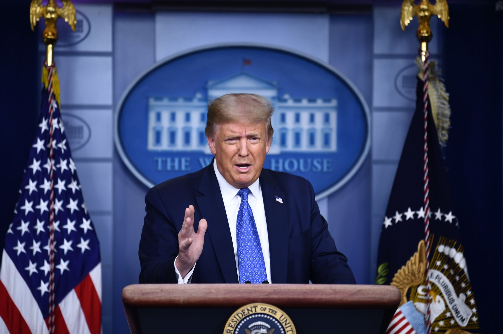 U.S. President Donald Trump speaks to the press during the renewed briefing of the Coronavirus Task Force in the Brady Briefing Room of the White House in Washington, DC, on July 22, 2020. (AFP Photo)