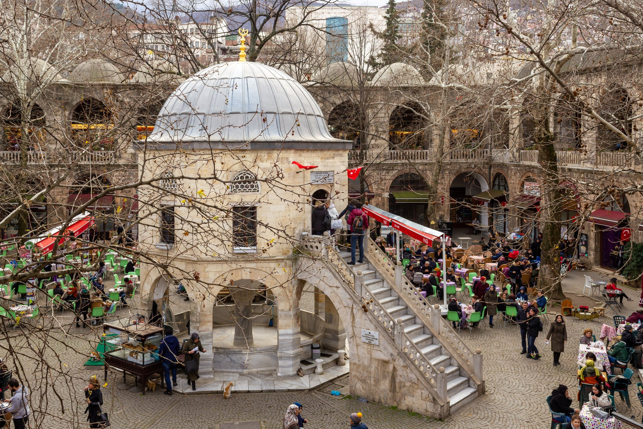 Photo shows Koza Han, a historic caravanserai and touristic silk bazaar in the old city center in Bursa, Jan. 29, 2020. (Türker Minaz / iStock Photo)