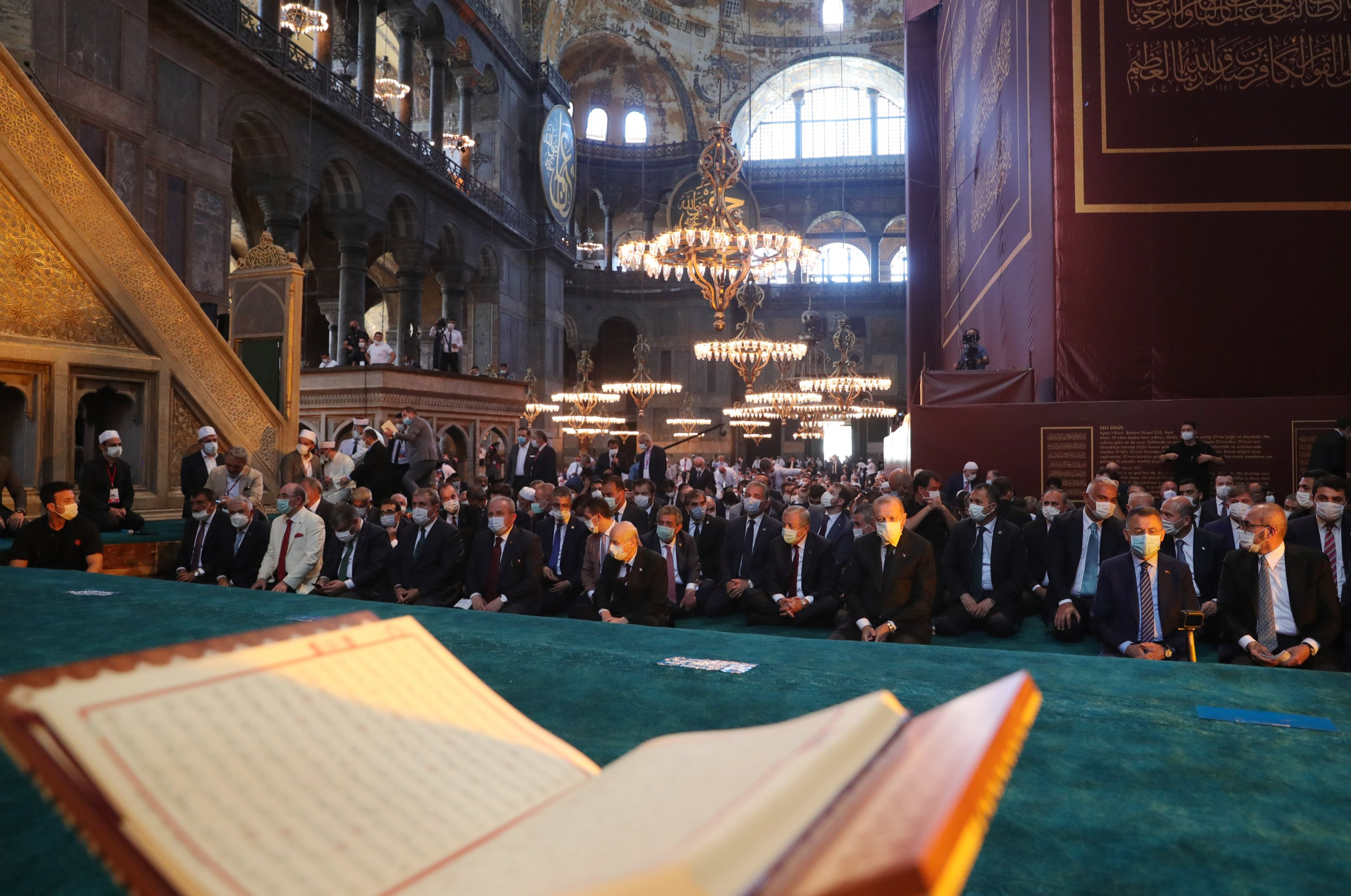 President Recep Tayyip Erdoğan attends Friday prayers at Hagia Sophia Grand Mosque, for the first time after it was once again declared a mosque after 86 years, in Istanbul, Turkey, July 24, 2020 (REUTERS Photo)