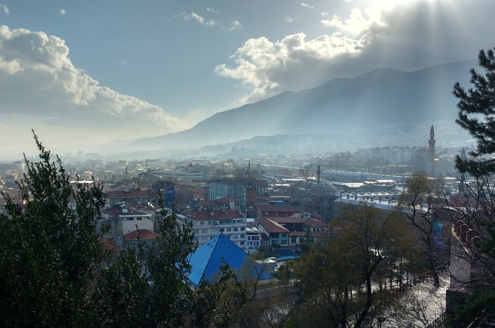 A view of the city of Bursa from the Tombs of Osman and Orhan, northwestern Turkey, Feb. 11, 2018. (Gabriela Akpaça / Daily Sabah)