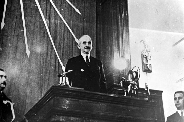 Ismet Inönü at the congress of the Republican People's Party in the late 1930s.