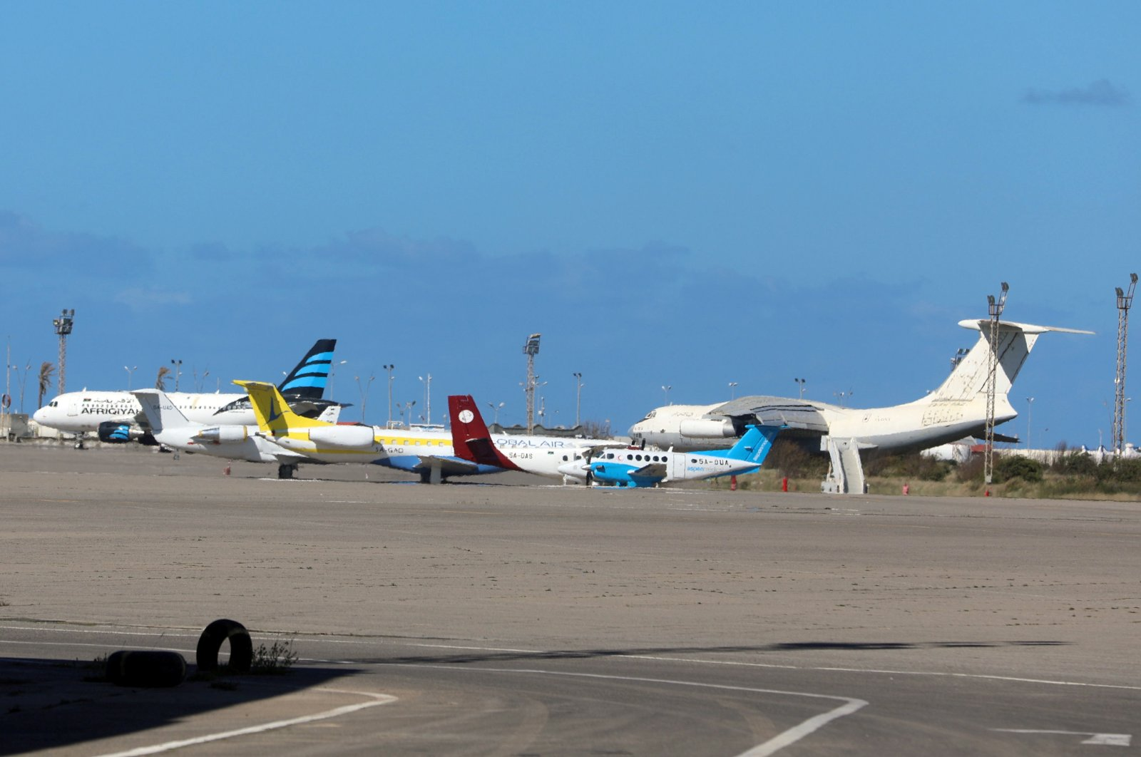 Airplanes are seen at Mitiga International Airport, Tripoli, Libya, April 8, 2019. (Reuters Photo)