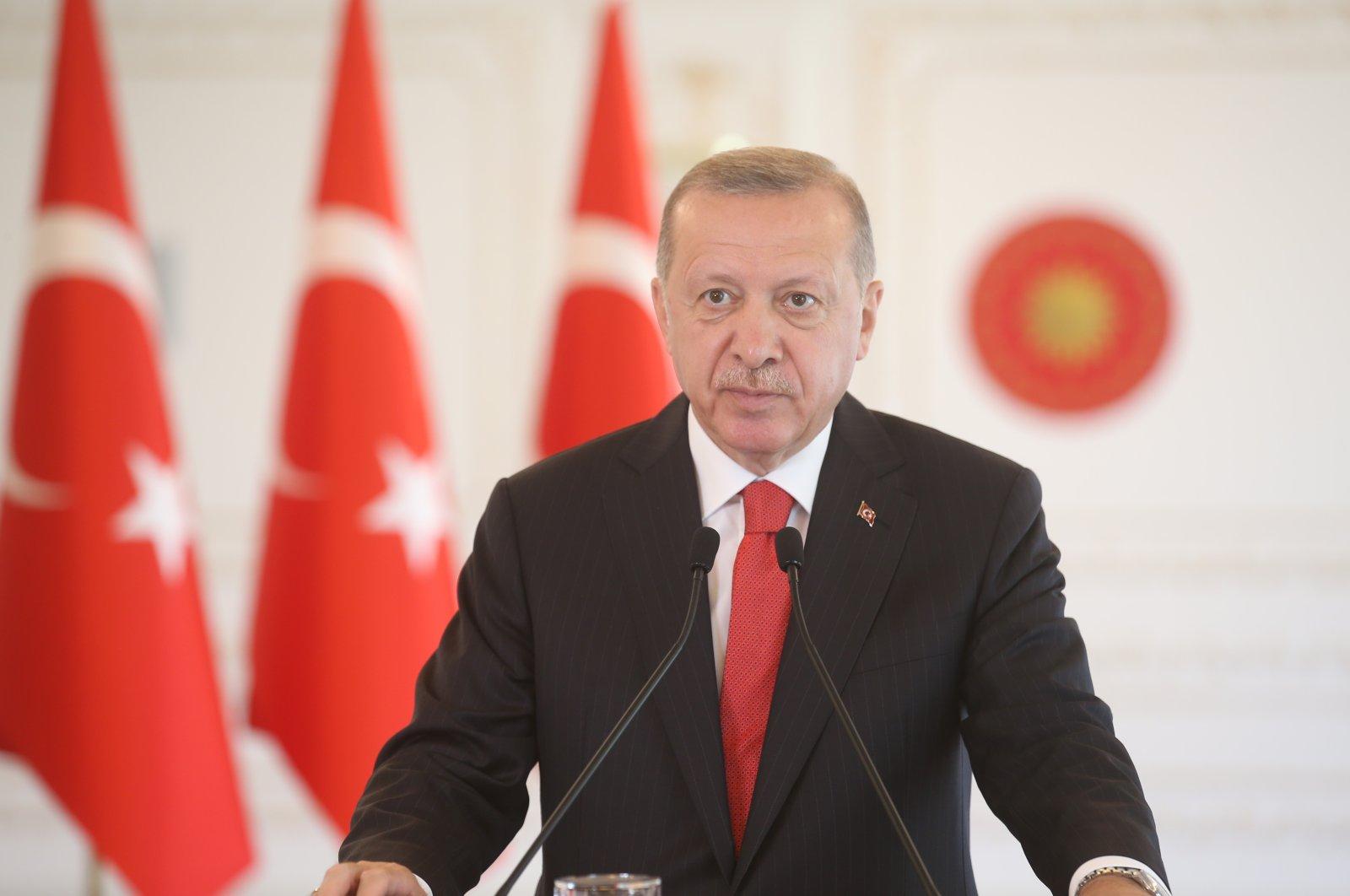 President Recep Tayyip Erdoğan speaks via video link during a mass launching ceremony of hydroelectric power plants, Istanbul, Turkey, July 5, 2020. (IHA Photo)