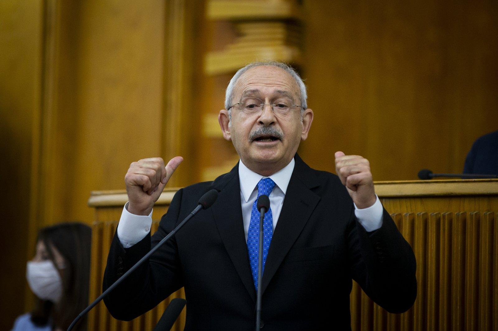 Republican People's Party (CHP) Chairman Kemal Kılıçdaroğlu attends his party's group meeting, Ankara, Turkey, July 21, 2020. (AA Photo)