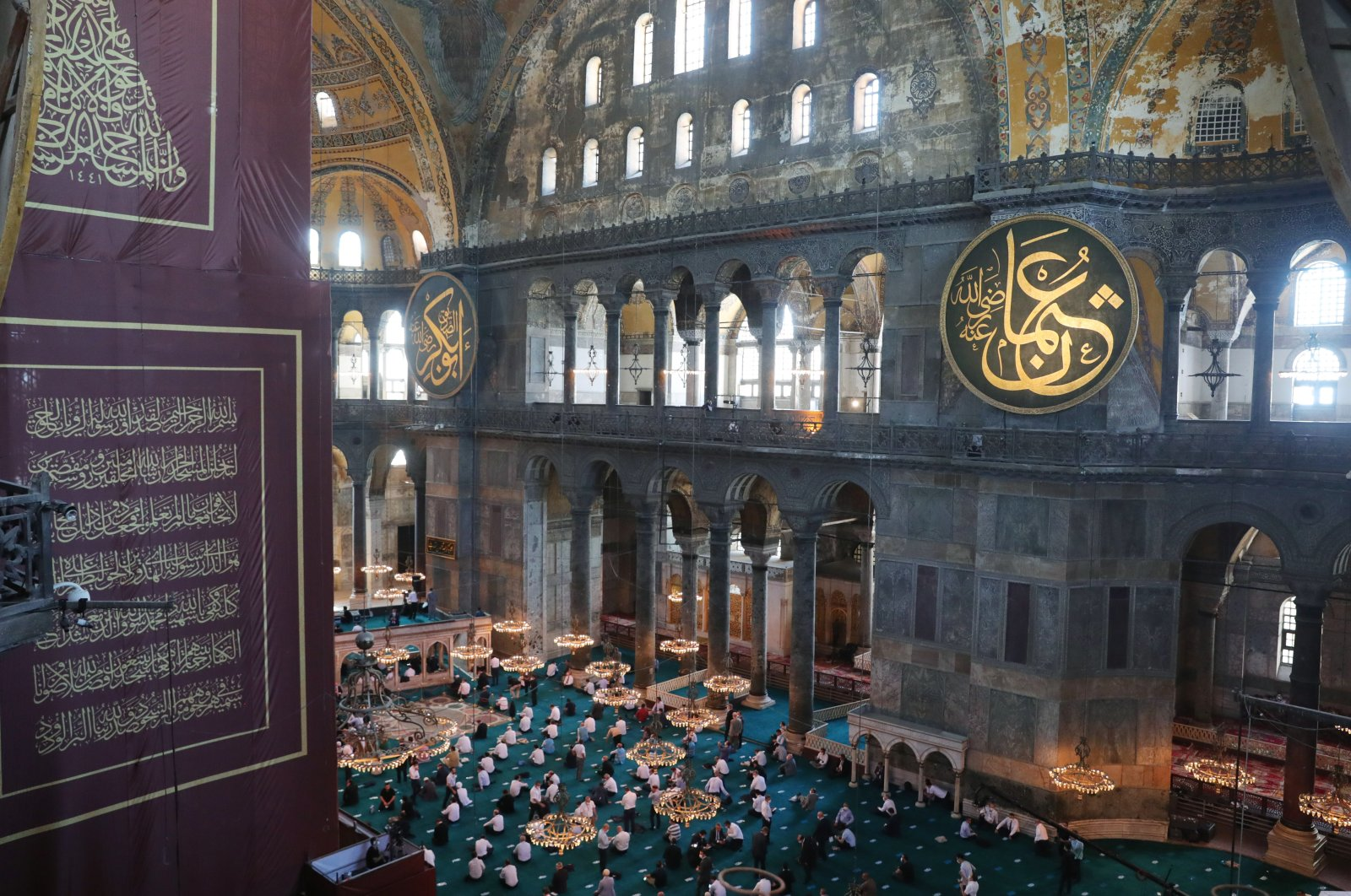 Istanbul's Hagia Sophia Mosque opened to the first prayers in 86 years on Friday with the participation of President Recep Tayyip Erdoğan, July 24, 2020. (AA Photo)