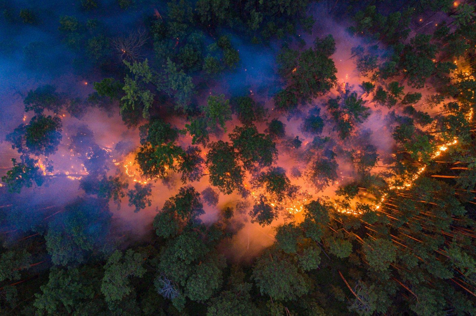 An aerial view shows a forest fire in Krasnoyarsk Region, Russia July 17, 2020. Picture taken July 17, 2020. (Julia Petrenko/Greenpeace via Reuters)