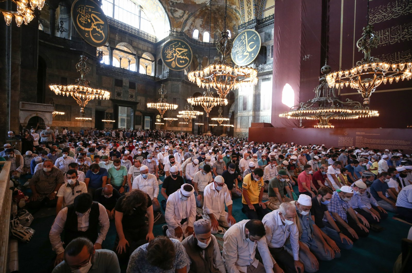 Citizens during the afternoon prayer in Hagia Sophia Grand Mosque, July 24, 2020 (AA Photo)
