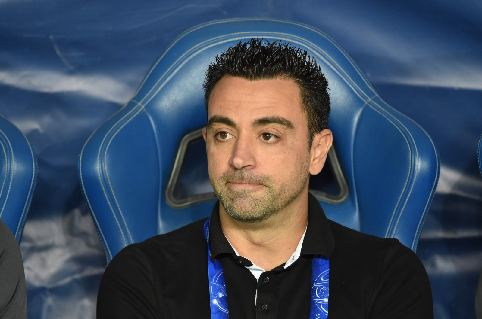 Al-Sadd's coach Xavi Hernandez watches the second leg of the AFC Champions League semifinal football match between Al-Sadd and Al Hilal in Riyadh on Oct. 22, 2019. (AFP Photo)