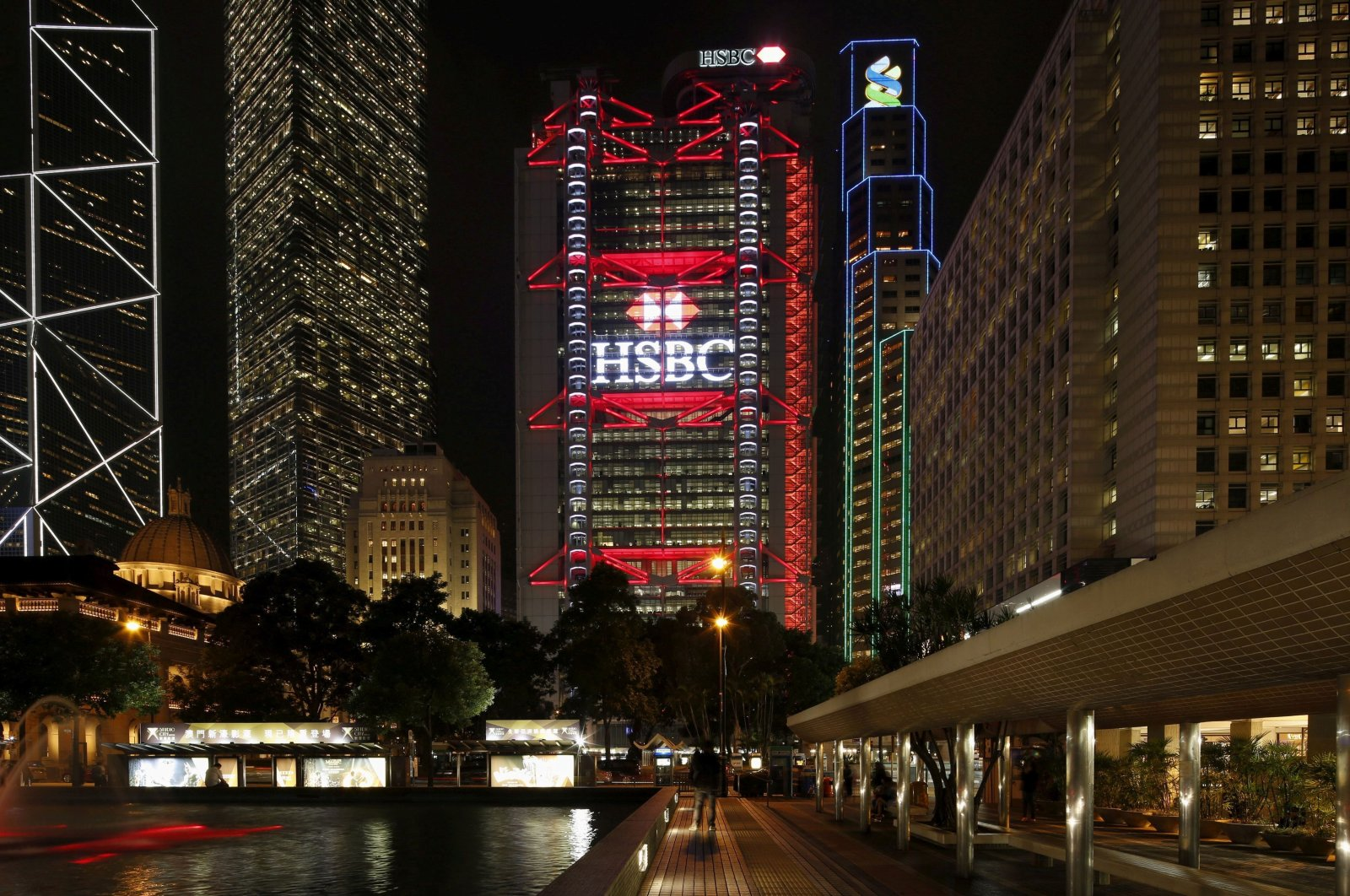 The HSBC headquarters is lit up at the Central Financial District in Hong Kong on Nov. 3, 2015. (Reuters Photo)