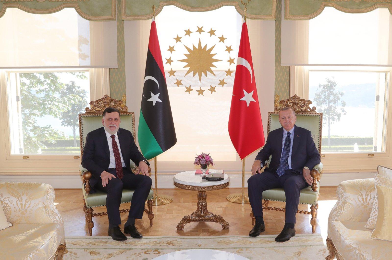 President Recep Tayyip Erdoğan meets with Libya's Prime Minister Fayez al-Sarraj in Istanbul's Vahdettin Palace, July 25, 2020. (DHA Photo)