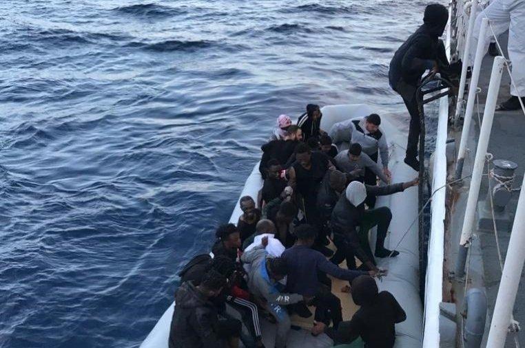 The Turkish Coast Guard rescues 36 asylum seekers off the Aegean coast in Çanakkale's Ayvacık district, western Turkey, June 8, 2020. (AA Photo)