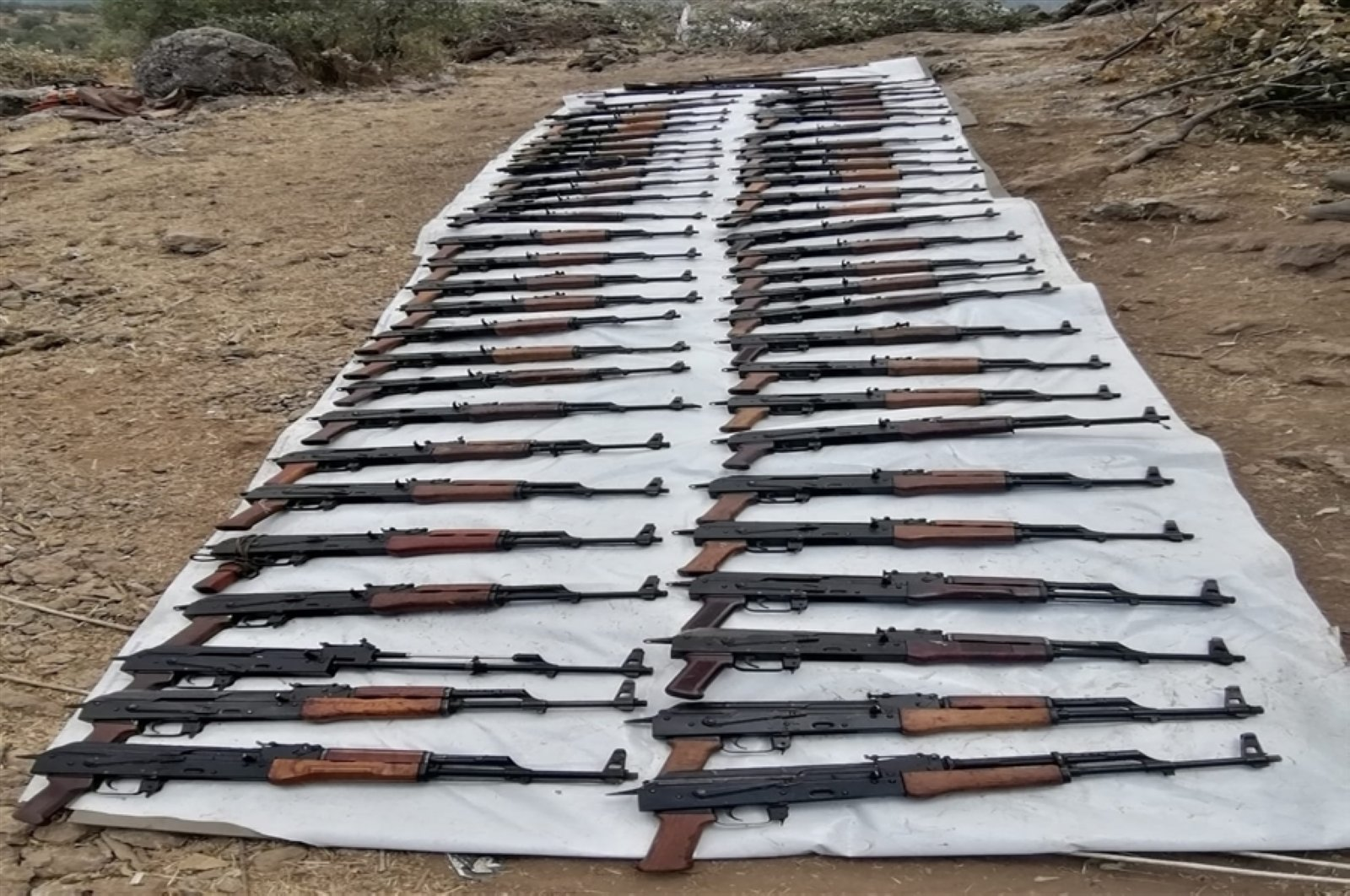 The Turkish military seized a huge cache of weapons and ammunition during an anti-terror operation in northern Iraq, July 25, 2020. (AA Photo)