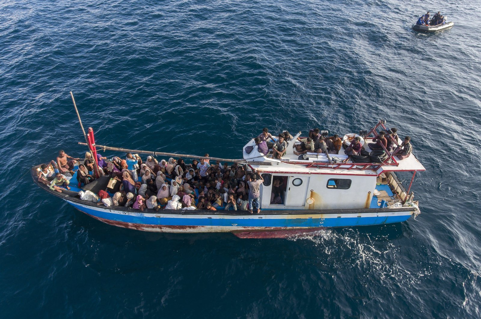 A boat carries ethnic-Rohingya off North Aceh, Indonesia, on June 24, 2020. (AP File Photo)