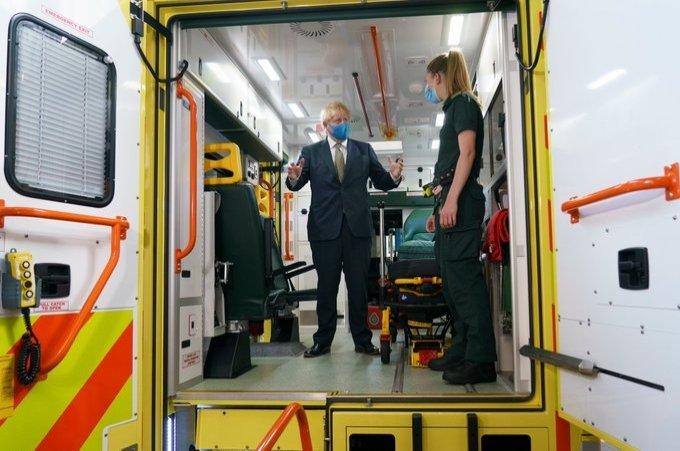 British Prime Minister Boris Johnson stands in an ambulance in London, U.K., July 24, 2020 (DHA Photo)
