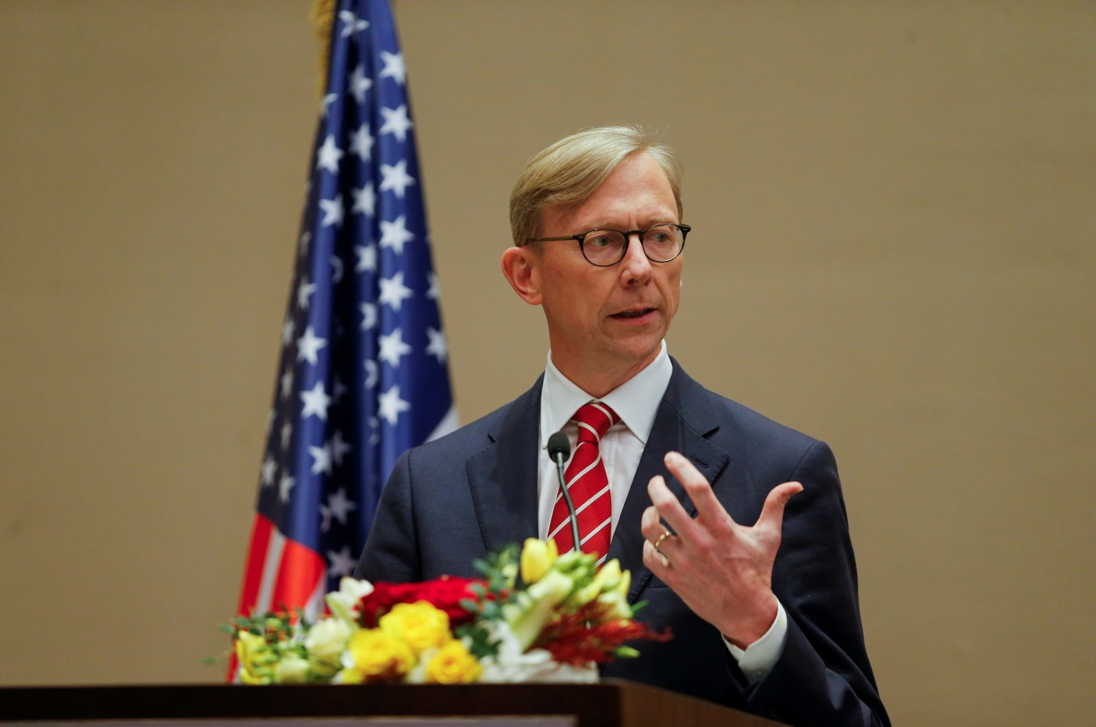 U.S. Special Representative for Iran Brian Hook speaks during a joint news conference with Bahrain Foreign Minister, Dr. Abdullatif bin Rashid Al Zayani (not pictured), in Manama, Bahrain, June 29, 2020. (Reuters Photo)