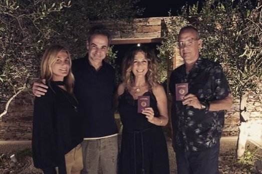 American actor and filmmaker Tom Hanks (R) poses next to his wife Rita Wilson (2nd from R), Greek Prime Minister Kyriakos Mitsotakis (2nd from L) and Mareva Grabowski (L) on Paros island, Greece, in a photo shared on Instagram on July 26, 2020. (From Instagram account of Kyriakos Mitsotakis)