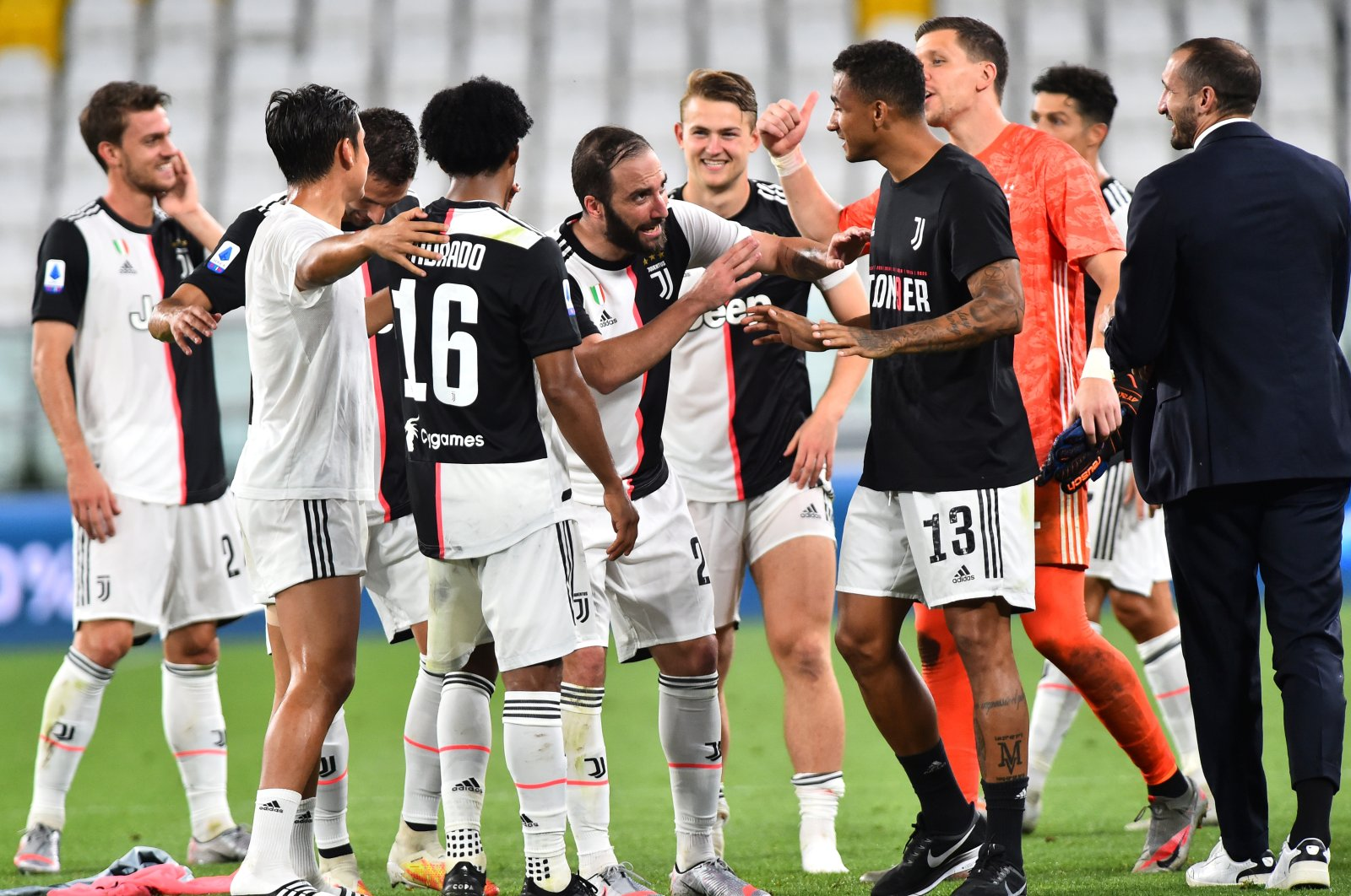 Juventus players celebrate winning the match against Sampdoria, and Serie A, at Allianz Stadium, Turin, Italy, July 26, 2020. (Reuters Photo)