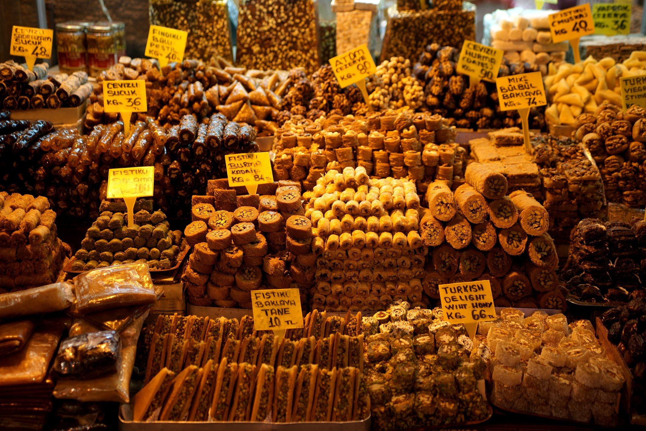 From baklava to cezerye, shops at Istanbul's famous Grand Bazaar have all sorts of Turkish desserts and candies. (iStock Photo)