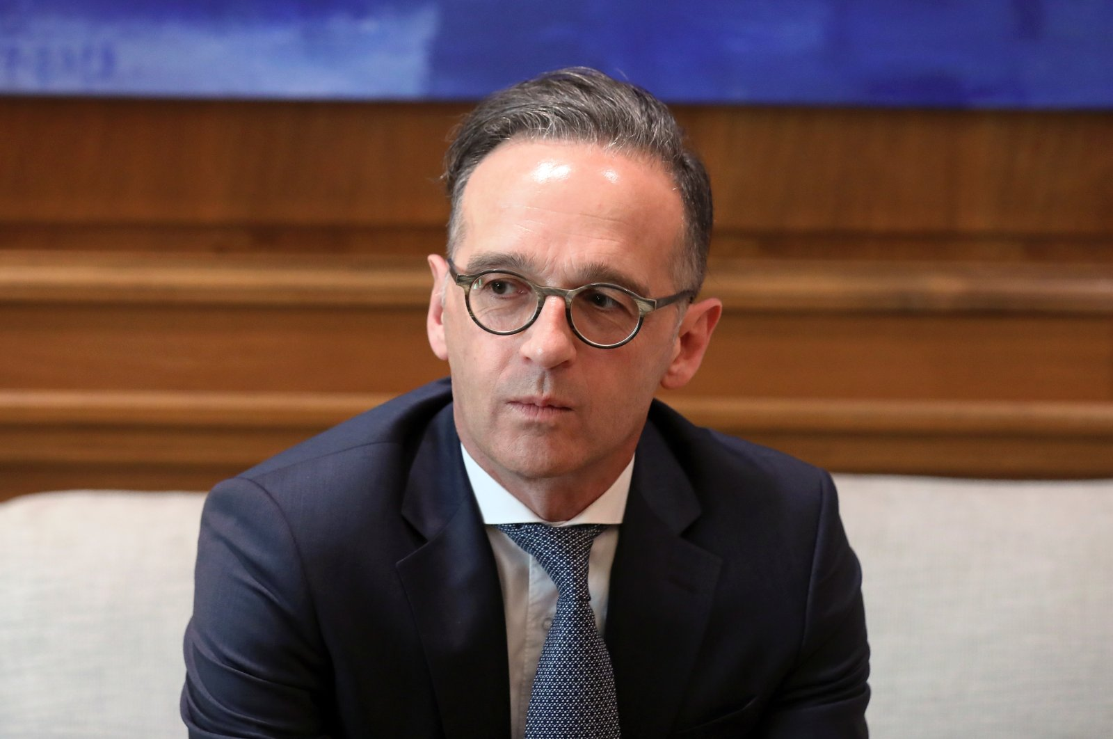 German Foreign Minister Heiko Maas pauses as he meets with Greek Prime Minister Kyriakos Mitsotakis at the Maximos Mansion in Athens, Greece, July 21, 2020.(Reuters Photo)