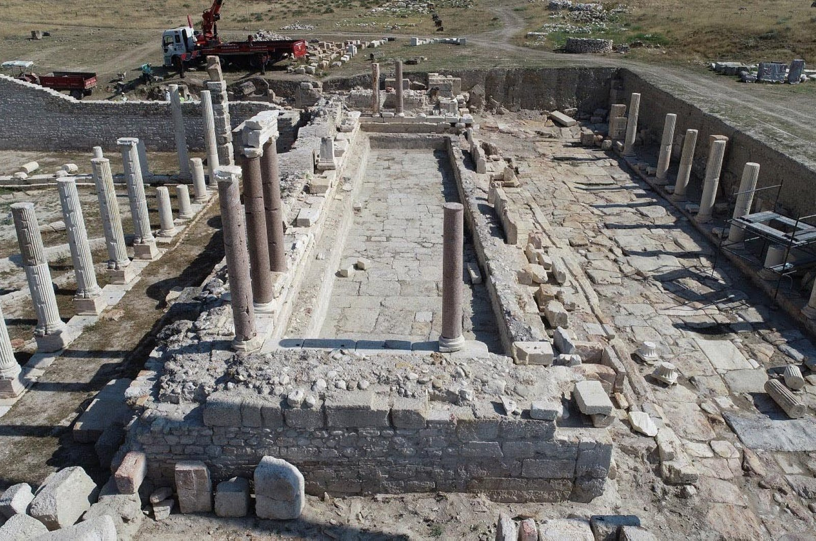 A general view of the monumental fountain, estimated to date back to the second century A.D, in the ancient city of Tripolis, Denizli, western Turkey, July 24, 2020. (DHA Photo)