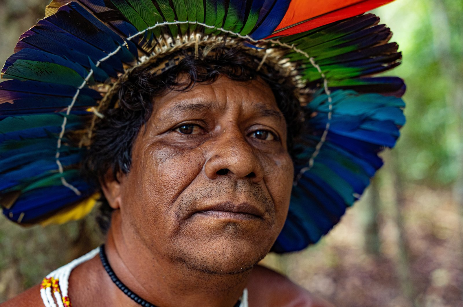 A member of Brazil's indigenous Guarani people looks on in an unknown location, Oct. 2, 2019. (MarkAlbini.com/Instagram @m_albini/Handout via Reuters)