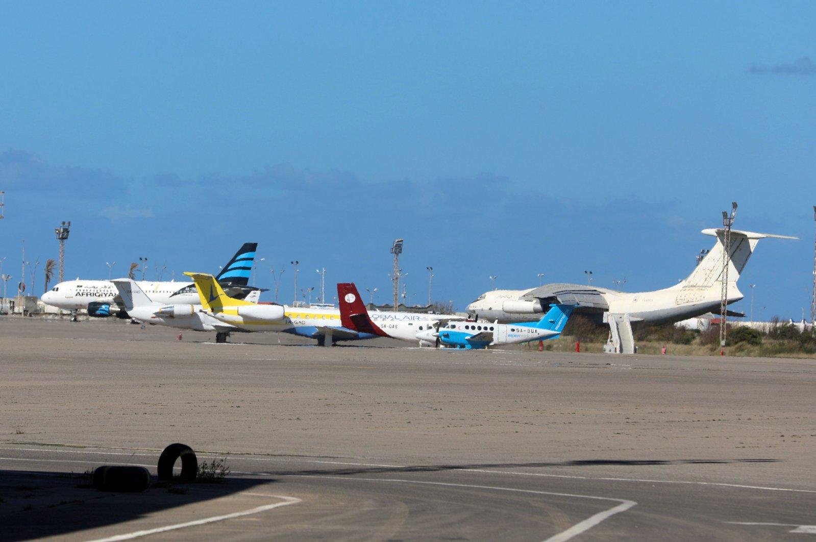 Airplanes are seen at Mitiga airport in Tripoli, Libya, April 8, 2019. (Reuters Photo)
