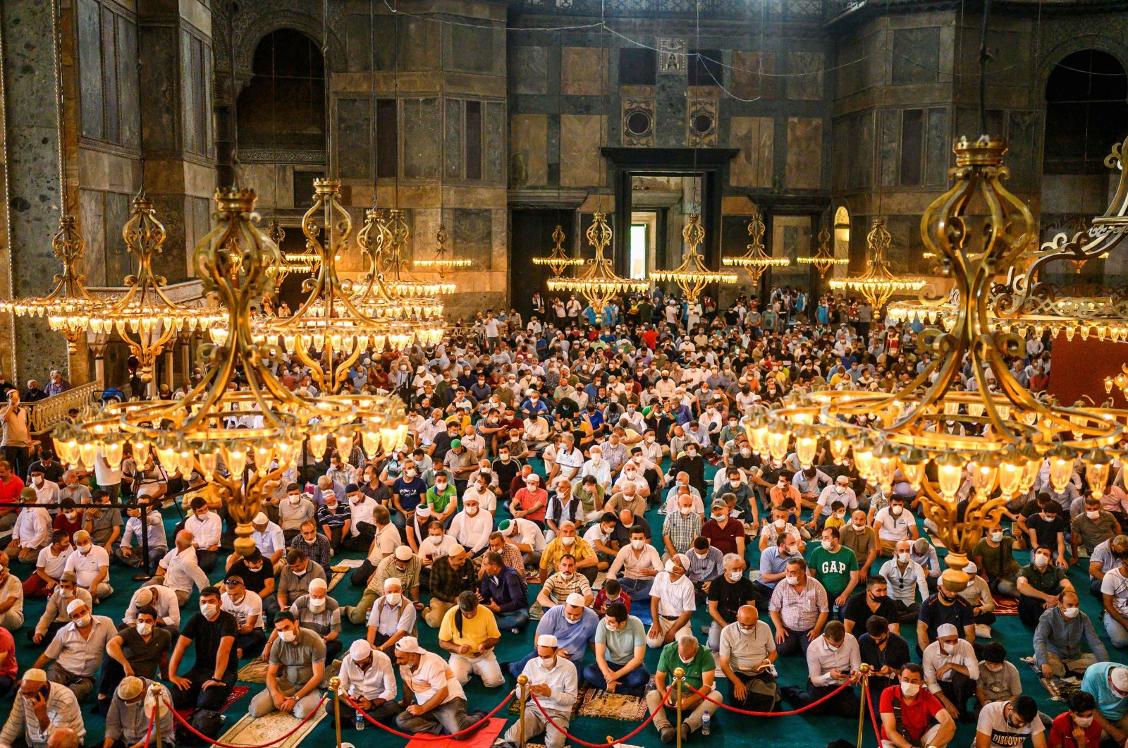 Worshippers pray in Hagia Sophia Grand Mosque in Istanbul, Turkey, July 26, 2020. (AFP Photo)