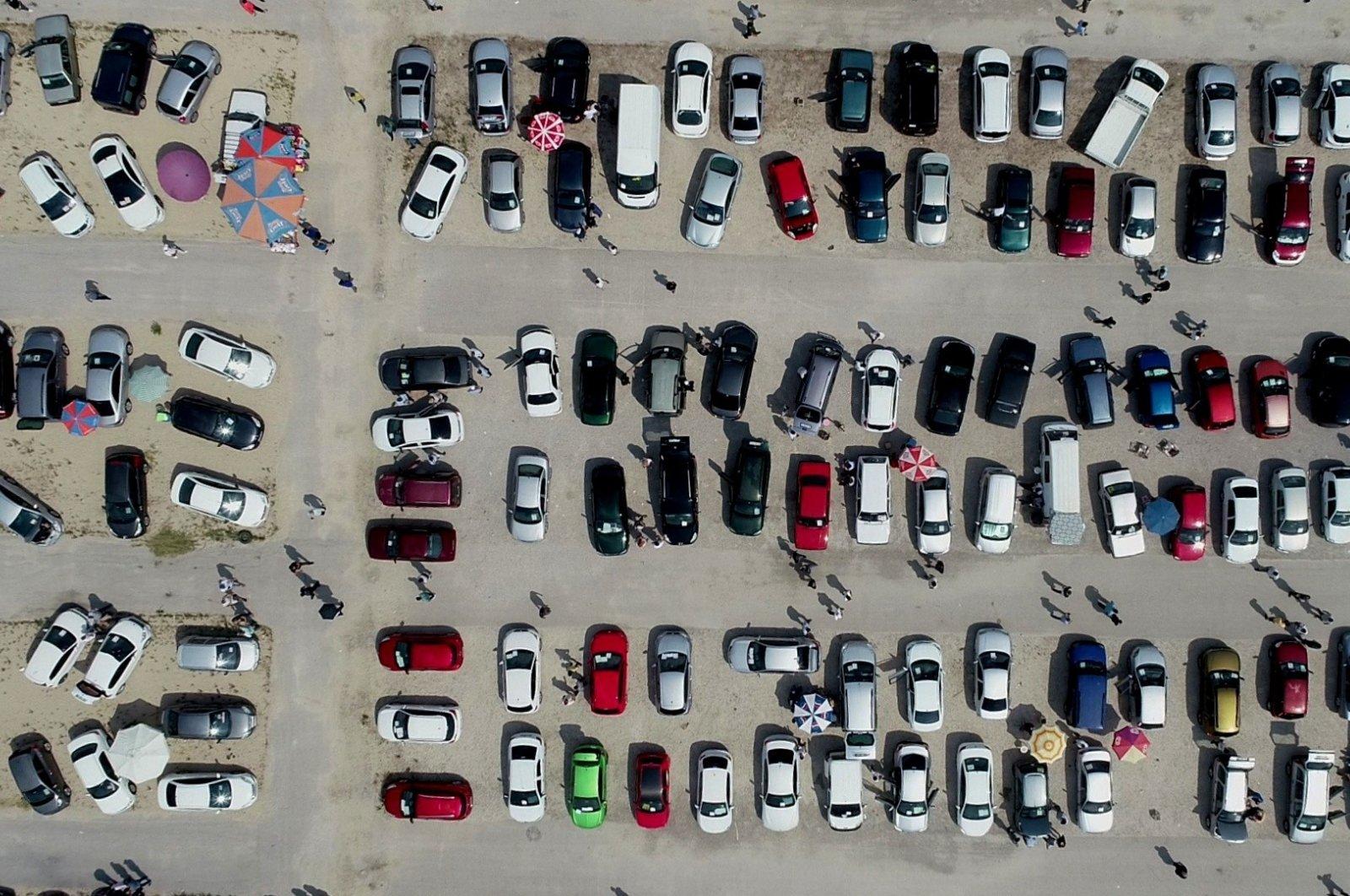Used cars fill a secondhand auto market in northwestern Bursa province, Turkey, July 26, 2020. (IHA Photo)
