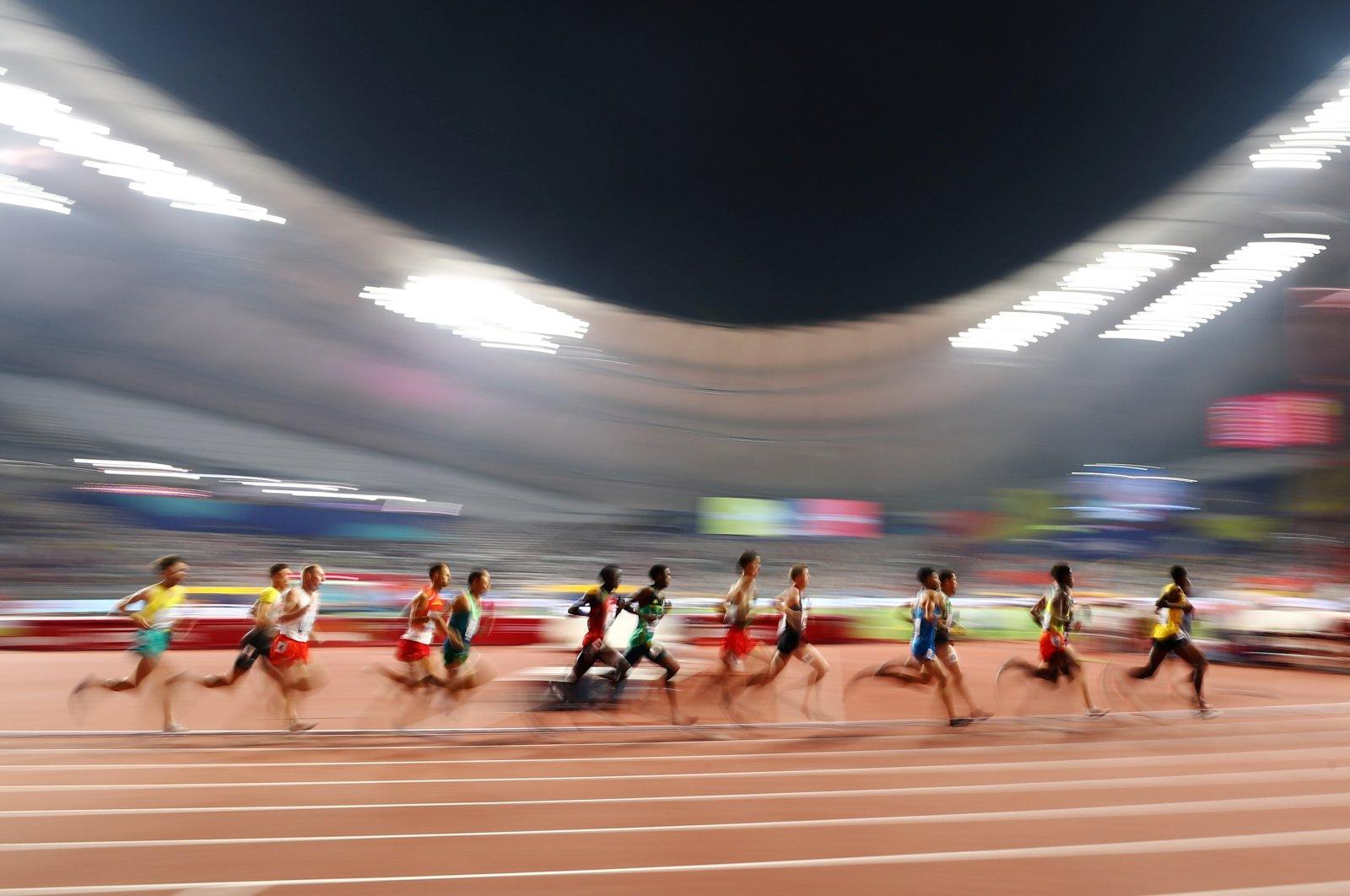 Men compete in 3,000-meter Steeplechase Heats competition in the World Athletics Championships in Khalifa International Stadium, Doha, Qatar, Oct. 1, 2019. (Reuters Photo)