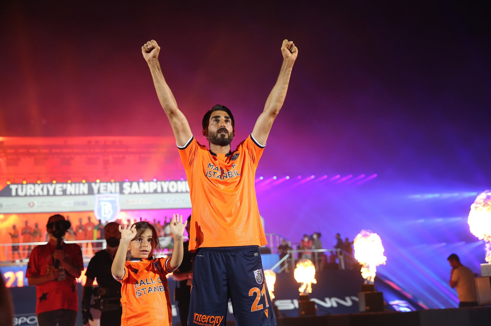 Mahmut Tekdemir of Başakşehir gestures during title celebration in Fatih Terim stadium, in Istanbul, Turkey, July 26, 2020. (AA Photo)