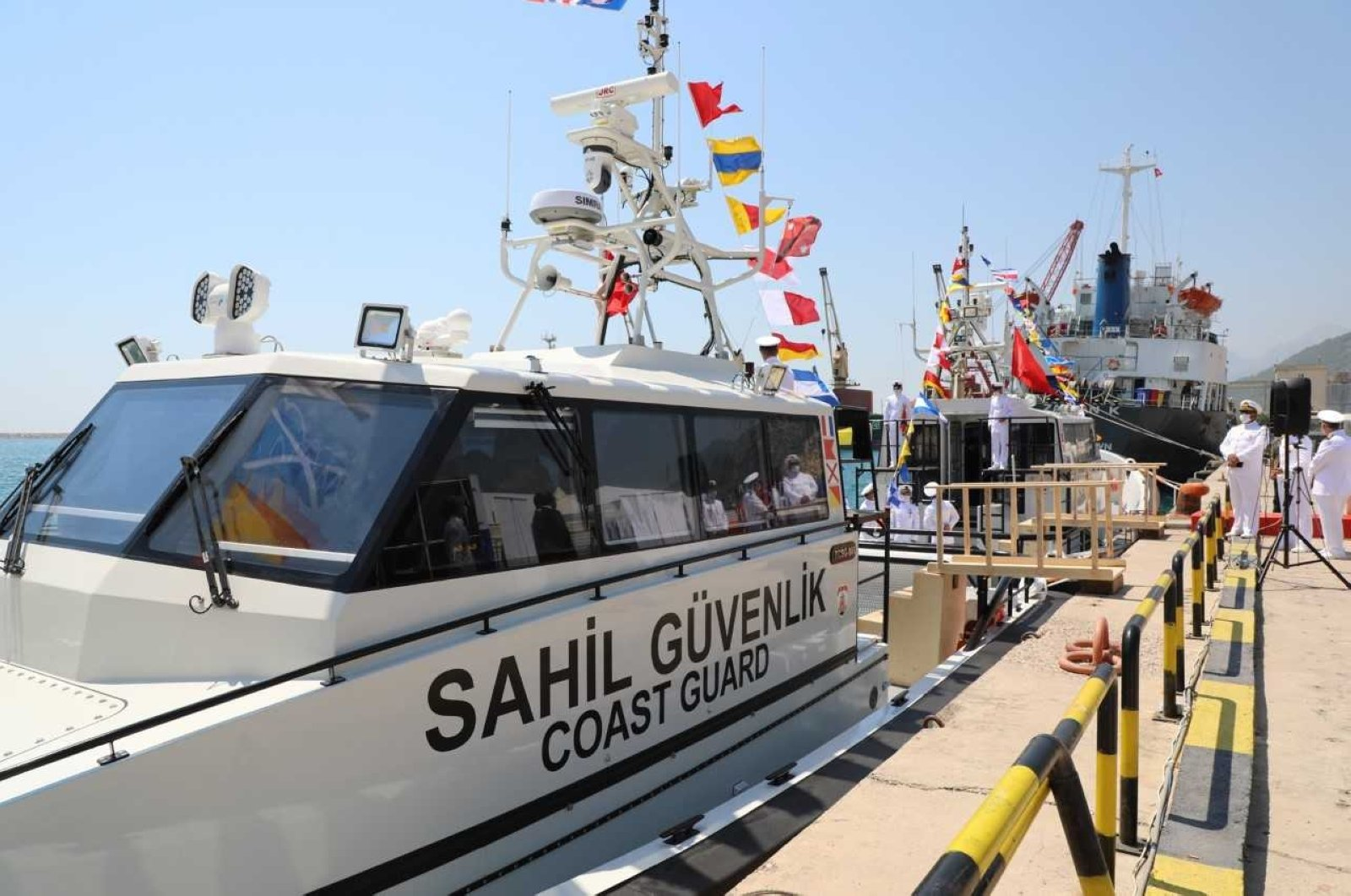 Two new search and rescue vessels are handed over to the Turkish Coast Guard Command through the partnership of the European Union and the International Organization of Migration (IOM) during a ceremony in Turkey's southern coastal city of Antalya, July 27, 2020. (Photo from the IOM Turkey Public Information Unit)