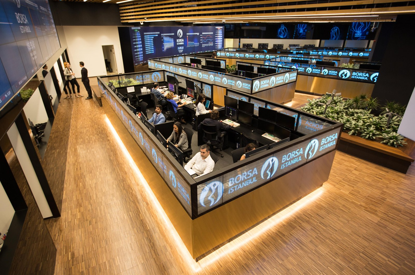 Traders work at their desks on the floor of Borsa Istanbul, Istanbul, Turkey, July 27, 2020. (IHA Photo)