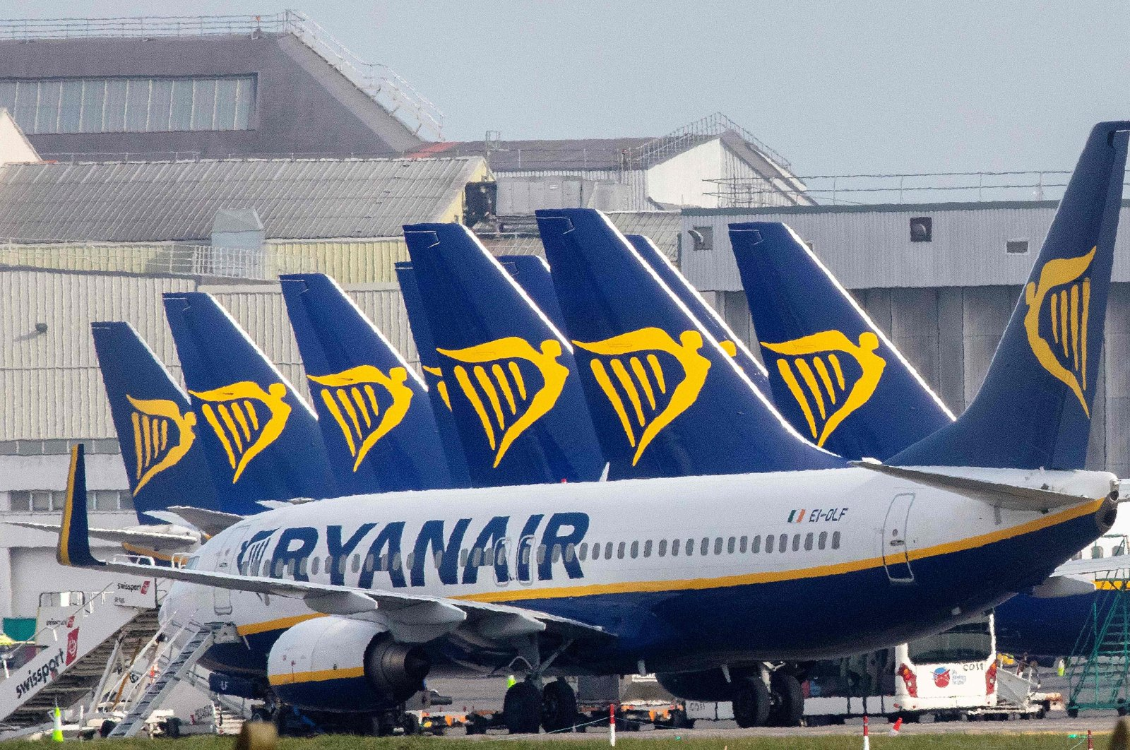 Ryanair passenger jets sit on the tarmac at the Dublin airport, March 23, 2020.(AFP Photo)
