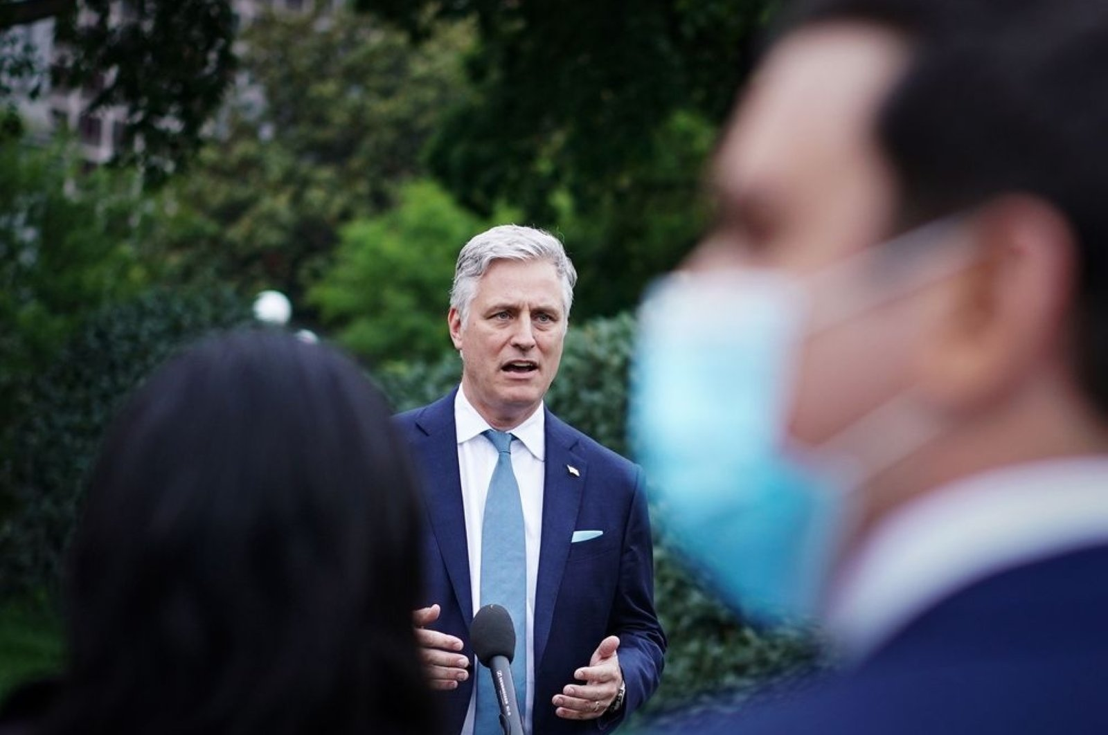 Robert O'Brien speaks to reporters outside of the West Wing of the White House, Washington, D.C., May 21, 2020. (AFP Photo)