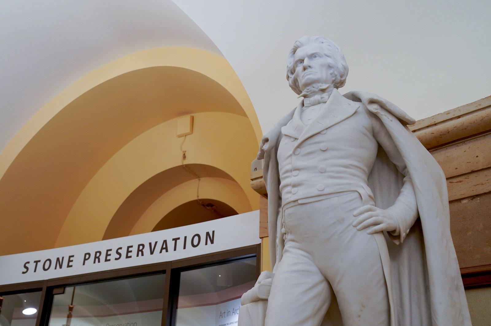 A statue of slavery advocate John C. Calhoun in the U.S. Capitol, Washington, U.S., July 23, 2020. (Reuters Photo)