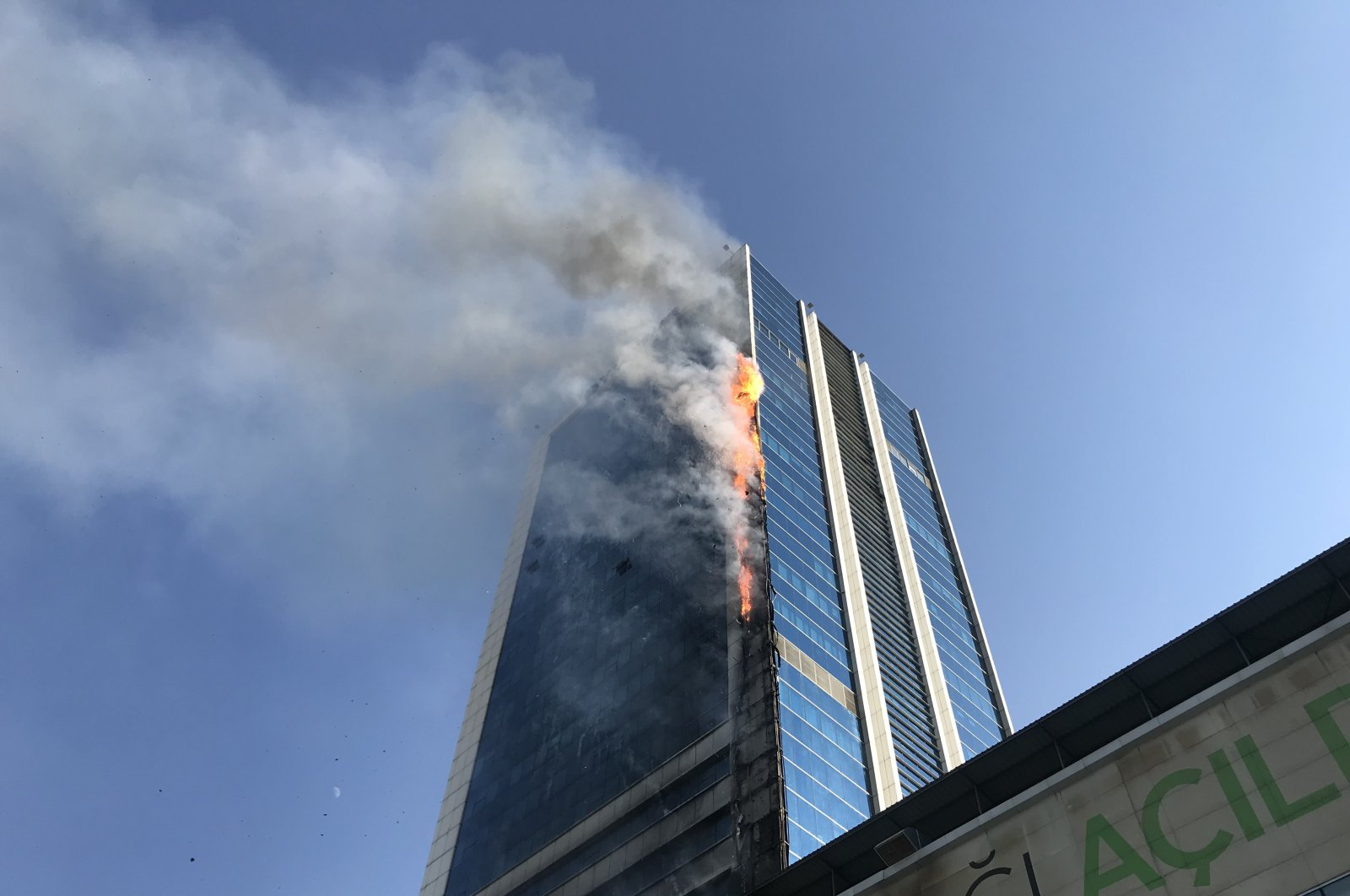 Fire breaks out at the fifth floor of a business center in capital Ankara, July 27, 2020. (AA Photo)