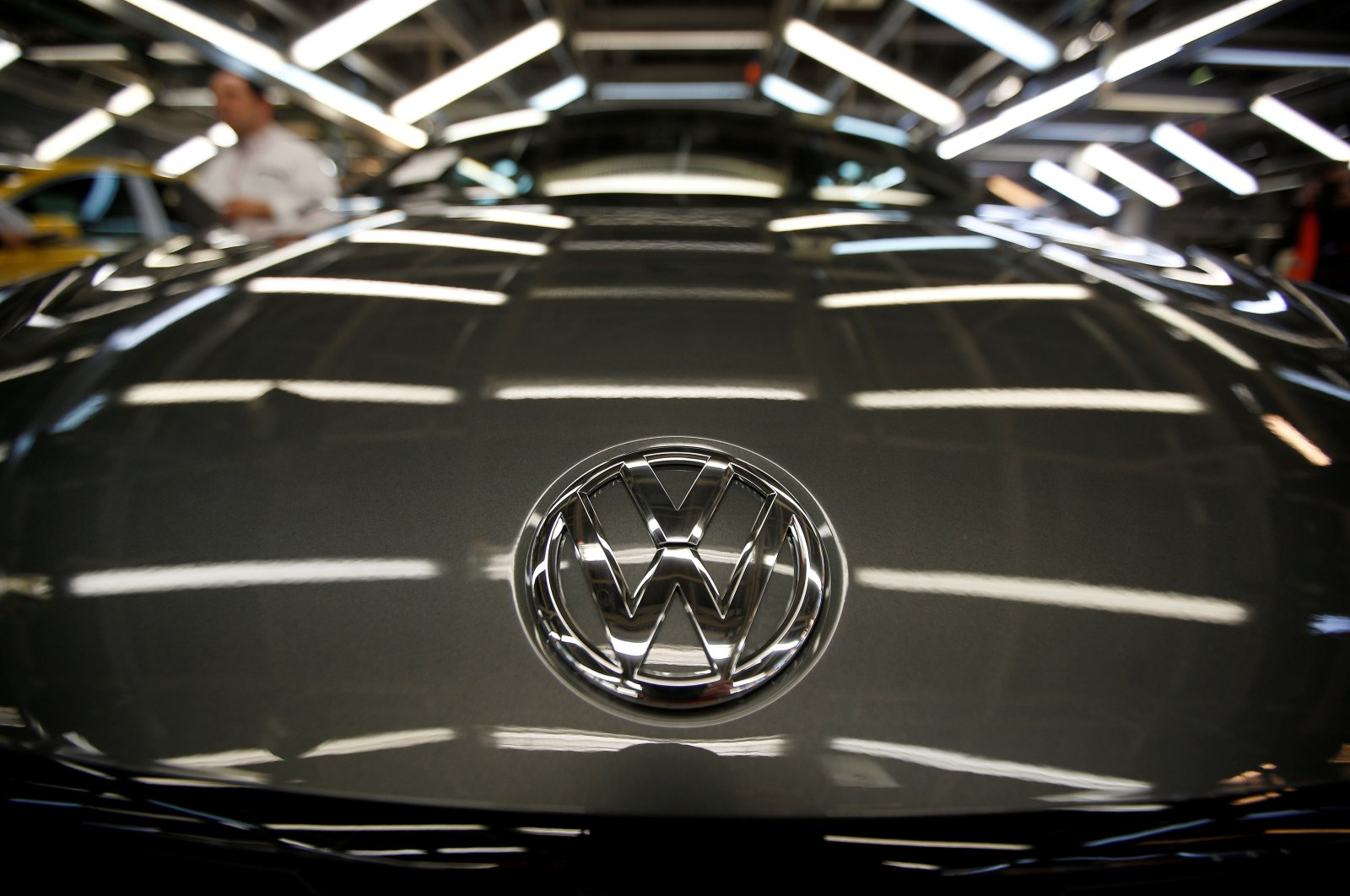 Volkswagen's logo is seen on a car on an assembly line at the carmaker's factory in Palmela, Portugal, Dec. 9, 2016. (Reuters Photo)