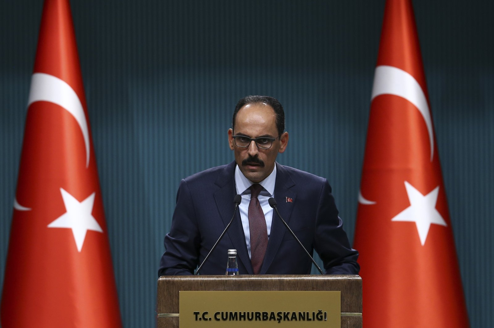 Presidential spokesman Ibrahim Kalın speaks to reporters during a news conference at the Presidential Complex in Ankara on July 22, 2019. (AA File Photo)