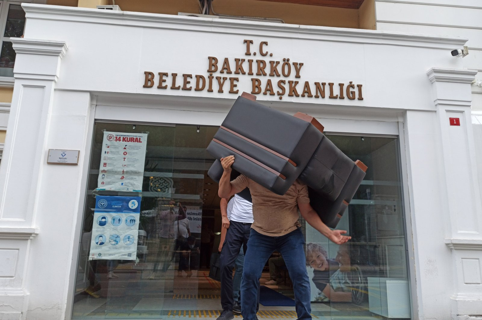Bakırköy District Municipality's furniture is seized over its failure to pay a debt to a cleaning company, Istanbul, Turkey, July 27, 2020. (AA Photo)