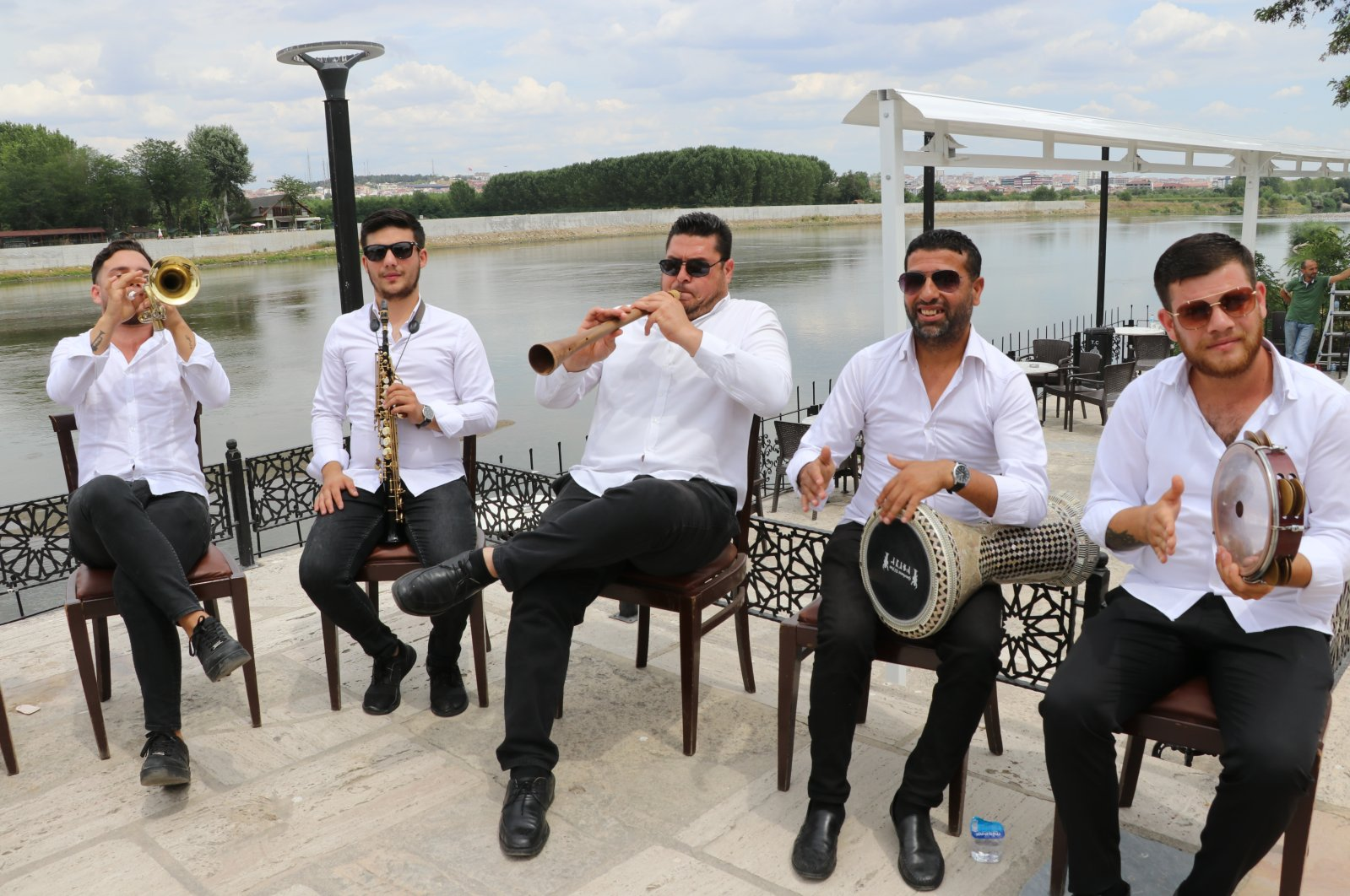 Roma musicians perform in an undisclosed location on July 27, 2020. (AA Photo)