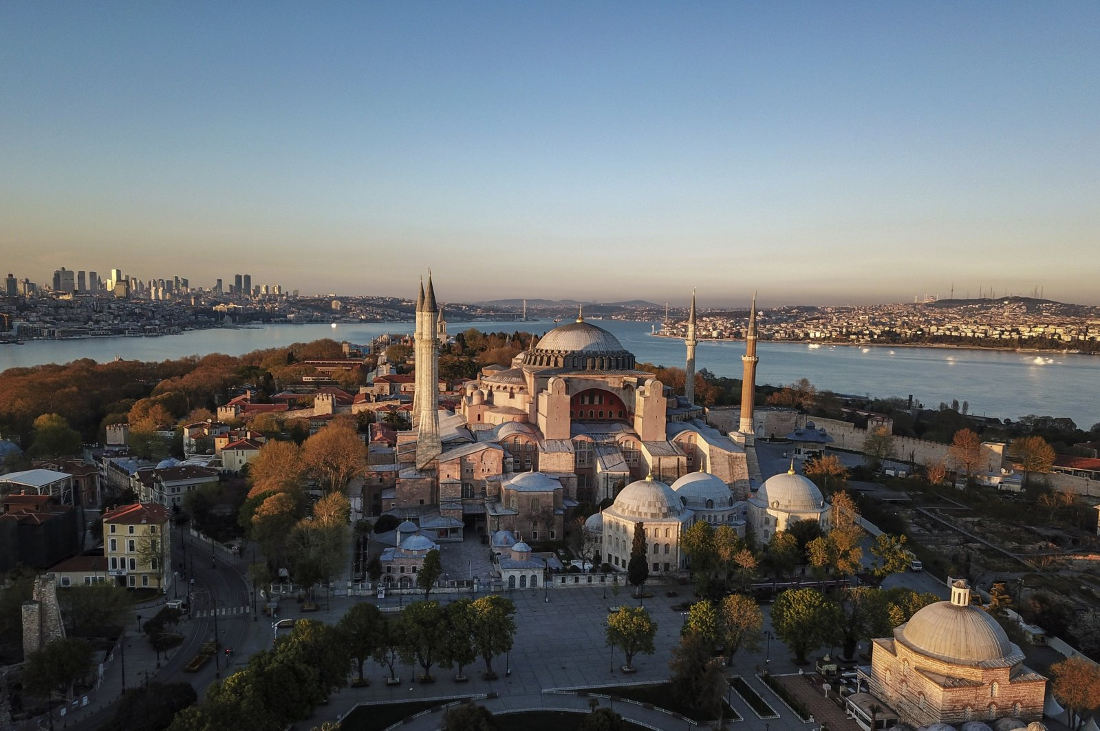 An aerial view of the Hagia Sophia Grand Mosque in the historic Sultanahmet district of Istanbul, April 25, 2020. (AP Photo)