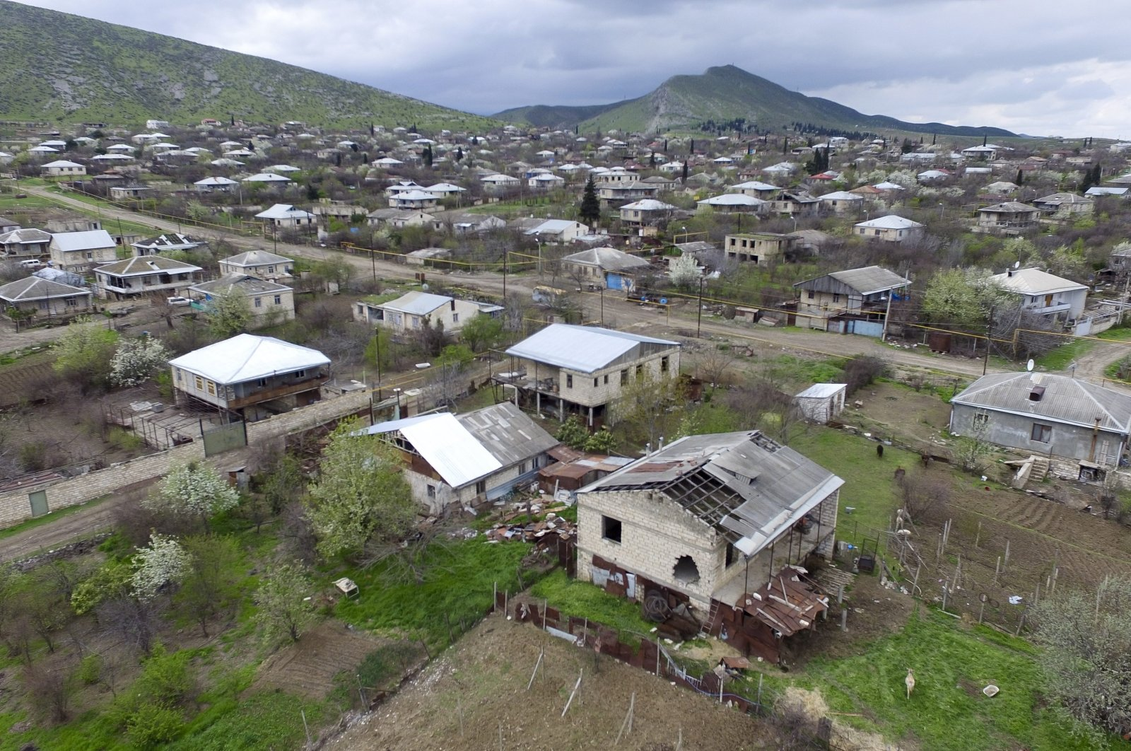 This aerial view shows destroyed houses during the fighting in Martakert province in the Nagorno-Karabakh region, Azerbaijan, April 4, 2016. (AP Photo)