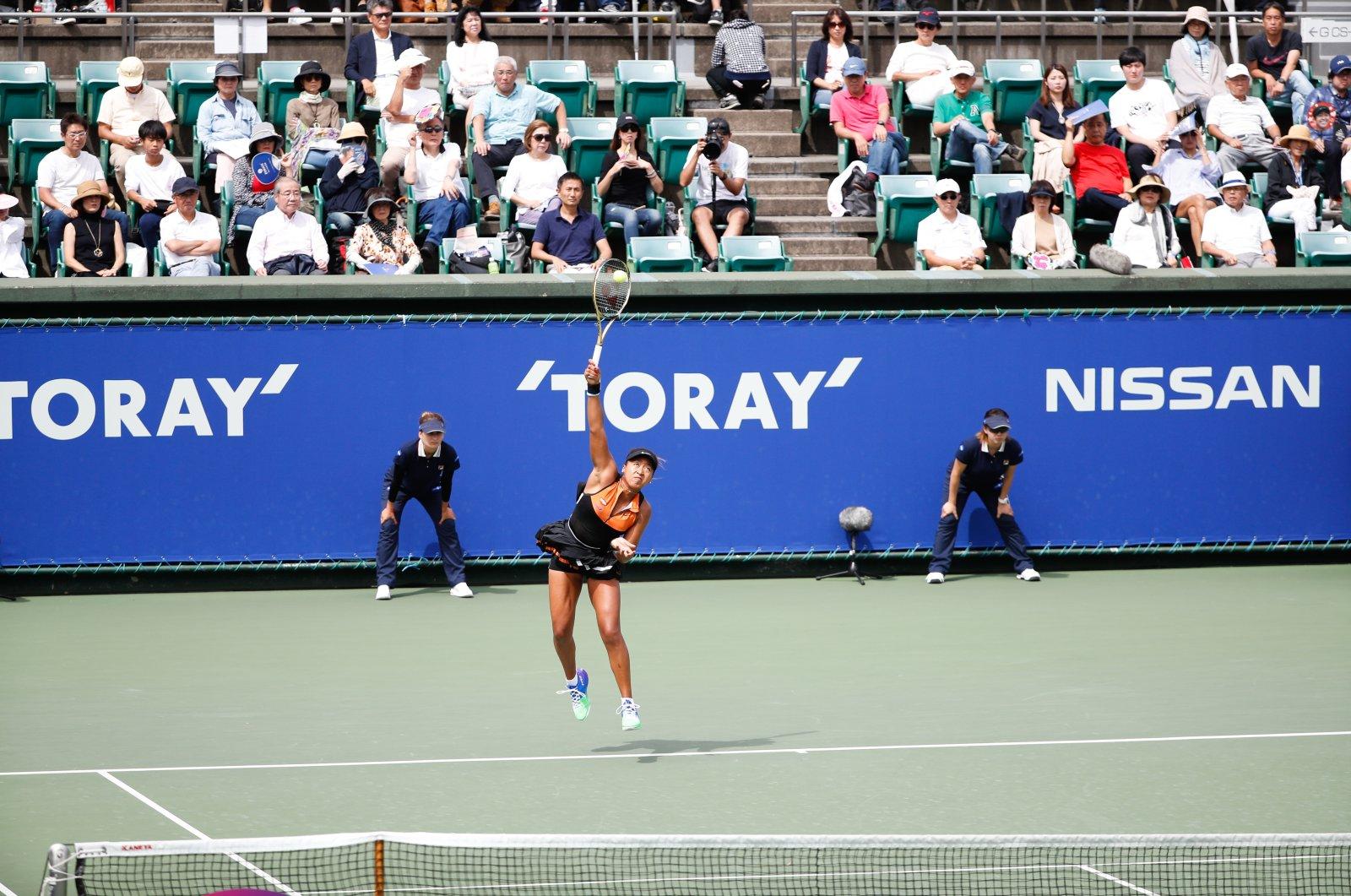 Naomi Osaka serves during the Toray Pan Pacific Open final in Osaka, Japan, Sept. 22, 2019. (Reuters Photo)