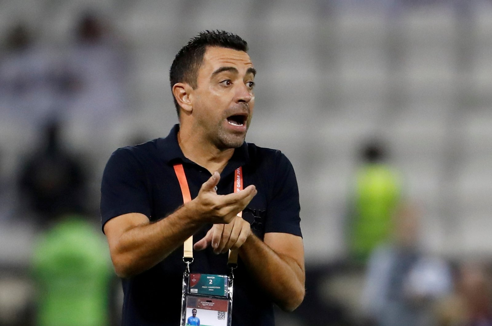 Al-Sadd coach Xavi Hernandez reacts during a match in Doha, Qatar, Dec. 14, 2019. (Reuters Photo)