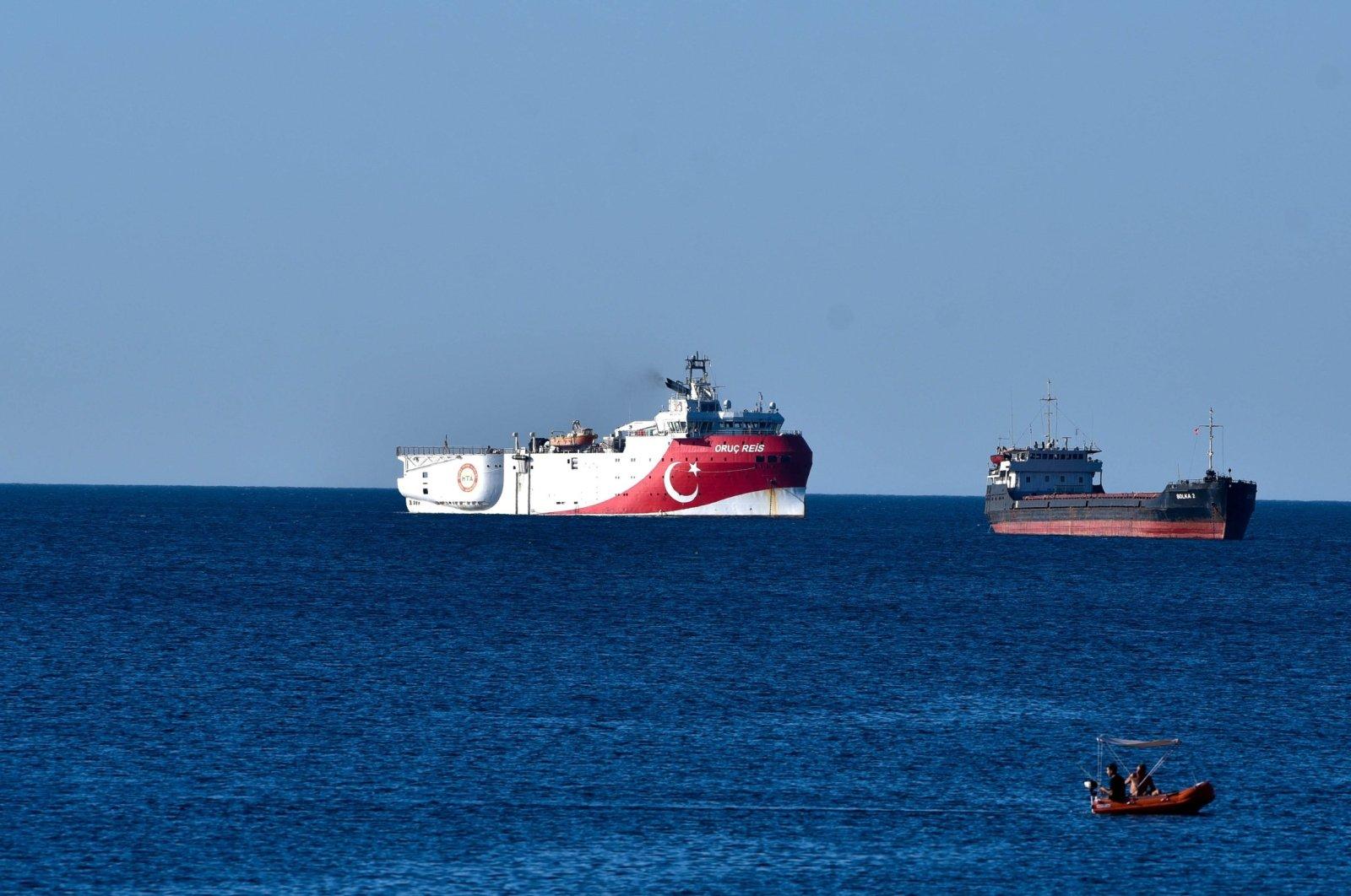 Turkey's seismic exploration vessel Oruç Reis is seen off the shore of Antalya, southwest Turkey, July 23, 2020. (DHA Photo)